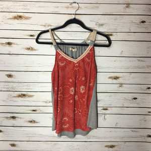 Rewind Tank Top Grey Red